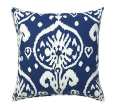"Ikat Throw Pillow for Couch, Sofa or Bed 18"" Cotton Canvas Cover w/ Insert-Decorative Pillow Accent Blue:Amazon:Home & Kitchen"