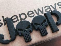 2.5D Punisher Emblem for Jeeps (JK Willys Font) in Black Strong & Flexible