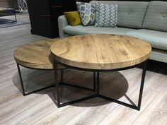 Coffee table solid oak steel frame pick-up furniture - Wohnzimmer - Living Room Table Oval Coffee Tables, Diy Coffee Table, Decorating Coffee Tables, Coffee Table Design, Diy Dining Table, Wood Table, Steel Table, German Decor, Retro Furniture