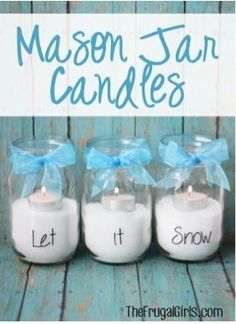 Mason Jar Let It Snow Candles and other great gift ideas