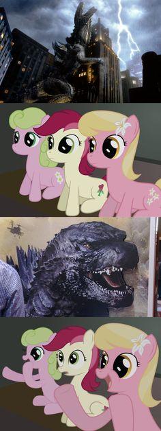 #572291 - daisy, exploitable meme, flower wishes, godzilla, godzilla 2014, lily, lily valley, meme, reaction guys, roseluck, safe, zilla - Derpibooru - My Little Pony: Friendship is Magic Imageboard