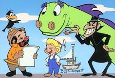 Crowy, Captain Horatio Huffenpuff (Uncle Captain), Beany Boy, Cecil the Seasick Sea Serpent & Dishonest John (D.), cast of The Beany and Cecil show. I loved this show when I was a child. My fathers name was John so we called him Dirty John. Classic Cartoon Characters, Favorite Cartoon Character, Classic Cartoons, Cartoon Tv, Cartoon Shows, Happy Cartoon, Vintage Tv, Vintage Cartoon, Vintage Stuff
