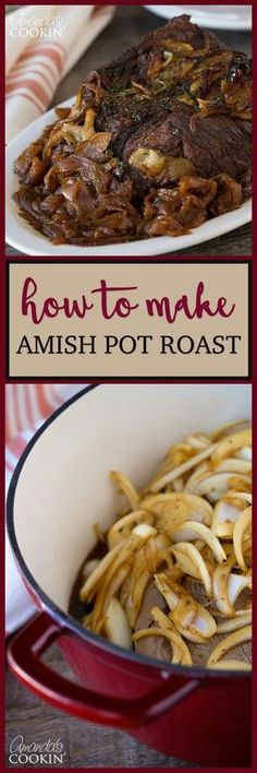 Amish Pot Roast - packed full of flavor and loaded with mouth-watering juices; truly a downright delicious dinner recipe! Recetas Zuchinni, Zuchinni Recipes, Oven Recipes, Pork Recipes, Cooking Recipes, Sirloin Recipes, Meatloaf Recipes, Kabob Recipes, Hardboiled