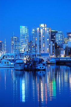 A very blue Coal Harbor, Vancouver - as seen through the lens of Elvy.