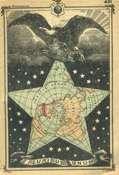 This is an original, not reproduction, vintage miniature map featuring a North Pole view of the world in a star with an eagle above. The print is smaller than the image, measuring approximately 3 by 4 inches.