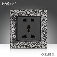 11.38$  Buy here - http://aligkd.shopchina.info/go.php?t=32662420851 - Wholesale Wallpad Grey Leather Switch Frame 110-250V 5 Pin10A 13A Universal Electric Wall Mounted Socket, Free Shipping  #buyonlinewebsite