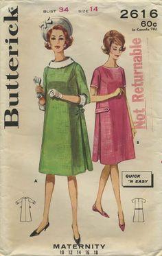 Vintage Sewing Pattern | Maternity Dress | Butterick 2616 | Year 1963 | Bust 34 | Waist 26 | Hip 36