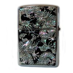 Mother of Pearl Double Dragon Design Zippo Style Black Pocket Oil... (645 UAH) ❤ liked on Polyvore featuring home, home improvement, fillers, smoking, lighter, accessories and extras