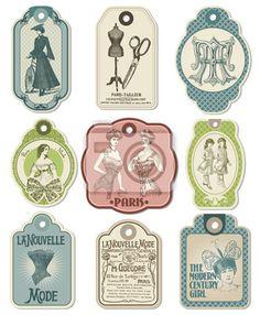 Tableau,Poster 9 Étiquettes rétro sur le thème de la mode