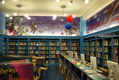 A Public Library - love the readers, iPads, etc. but I still love going to the library. Elementary Library Decorations, School Library Decor, School Library Displays, Elementary School Library, Elementary Schools, School Libraries, Library Furniture Design, Library Inspiration, Library Ideas