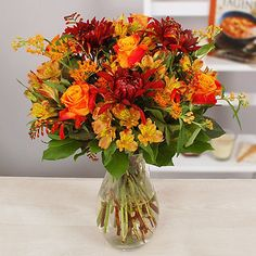 Bright-Autumn-Days-Bouquet-With-Free-Express-Delivery from Lakeland Autumn Day, Pretty Flowers, Kitchenware, Glass Vase, Floral Wreath, Delivery, Bouquet, Bright, Wreaths