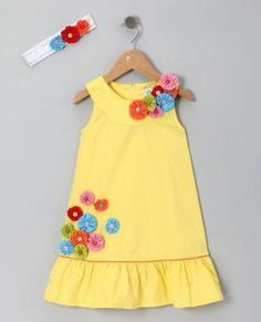 Yellow Flower Dress & Headband - Toddler & Girls by Donita - I LOVE the yo yos o.Yellow Flower Dress & Headband - I LOVE the yo yos on this dress! I am thinking that this would be fun to try to replicate for the girlie.Different types of frocks desig Little Dresses, Little Girl Dresses, Cute Dresses, Girls Dresses, Baby Dress Design, Frock Design, Girl Dress Patterns, Kids Frocks, Toddler Dress