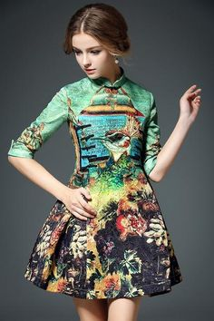 Ethnic Style Floral Print A-line Half Sleeve Mini Dress