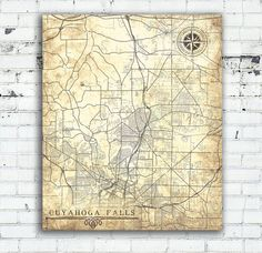 CUYAHOGA FALLS Canvas print Ohio OH Vintage map Cuyahoga Falls City map Vintage Antique Wall Art poster Vintage retro Old map United States