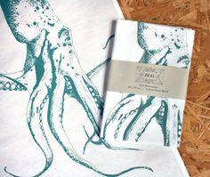 Hand Screen Printed Octopus Tea Towel Turquoise - Ethically Made Nautical, Aquamarine, Seaside Print Design