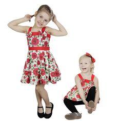 Little Miss Elinor -White Red Rose Mekko