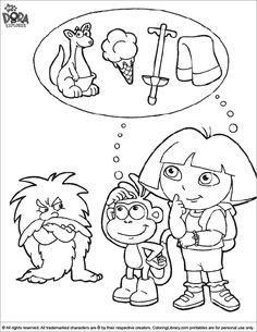 Dora The Explorer Coloring Page Is Thinking