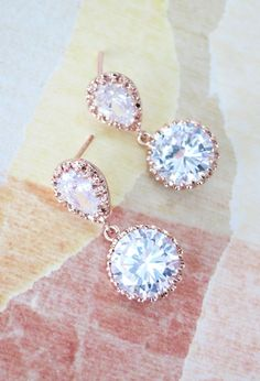 Rose Gold Cubic Zirconia Teardrop Earring - gifts for her, earrings, bridal gifts, dangle, pink gold weddings, bridesmaid earrings, www.colormemissy.com