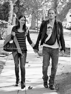 Fan art: Outlander's Sam Heughan and Caitriona Balfe (holding her niece). This is  when we thought (hoped) they were dating.