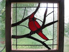 Cardinal Stained Glass Panel
