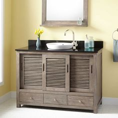 "48"" Arrey Teak Vanity for Semi-Recessed Sink - Gray Wash    This is a whole different look - but it has a bit of that rustic feel ..."