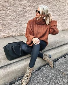 "Ali Smith on Instagram: ""Happy Friday 🎉 This is definitely one of my favorite sweaters this fall & I adore these leopard booties 😍🙌 Find this entire look by…"""