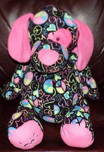 HTF-13-034-GANZ-Justice-BLACK-Pink-Blue-Yellow-PEACE-Love-PLUSH-Puppy-Dog-30
