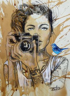 View LOUI JOVER's Artwork on Saatchi Art. Find art for sale at great prices from artists including Paintings, Photography, Sculpture, and Prints by Top Emerging Artists like LOUI JOVER. Camera Art, Camera Drawing, Newspaper Art, Arte Pop, Portrait Art, Portrait Paintings, Art Paintings, Female Art, Canvas Art Prints
