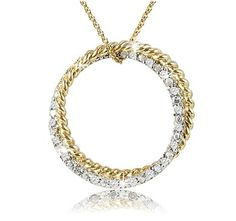 $19.99 - 1/8 Carat Diamond Double Interlocking Circle Pendant in 18K Gold Over Sterling Silver