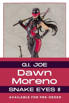 The G.I. Joe Dawn Moreno Snake Eyes II Bishoujo Statue from Hasbro and Kotobukiya is now available for pre-order! Click the link today to get your order in today to secure one of these exquisite statues. #bishoujo #snakeeyesII #gijoe #dawnmoreno #hasbro Bishoujo Statue, Snake Eyes, Gi Joe, Dawn, Statues, Link, Effigy
