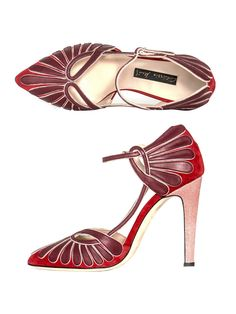 1930's deco elegance, these red Agatha suede, leather and stingray shoes by Chrissie Morris