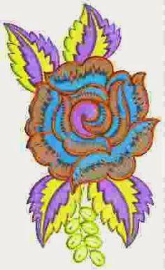 Multi kleur Rose blom Patch ontwerp