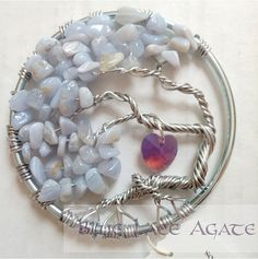 Blue Lace Agate Tree of Life Suncatcher // by TheTwistedForest Wire Wrapped Jewelry, Wire Jewelry, Wire Trees, Throat Chakra, Wire Crafts, Blue Lace Agate, Beads And Wire, Mother Pearl, Tree Of Life