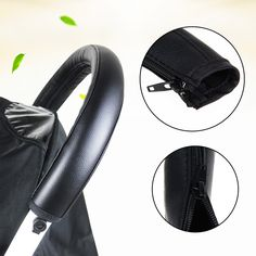 Pram Stroller Handle Cover Baby Stroller Armrest PU Protective Case Cover for Handle Wheelchairs Black Baby Stroller Accessories