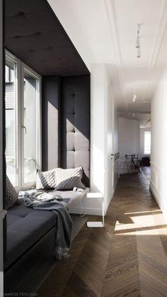 Black and white flat, classic interior, molding. Black And White Flats, Interior Architecture, Interior Design, Classic Interior, Reading Nook, New Homes, Windows, Bedroom, Furniture