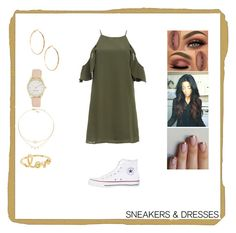 """Sneakers and Dresses"" by chase-the-sun ❤ liked on Polyvore featuring DailyLook, Converse, GUESS by Marciano, Nine West and Sydney Evan"