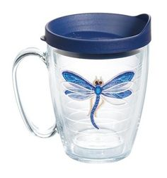 Garden Party Dragonfly Shimmer Mug with Lid