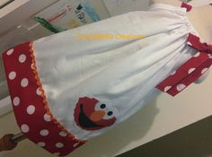 Elmo White with Red Polka Dot Trim pillowcase dress. Perfect birthday dress for baby toddler and little girls who live Sesame Street.