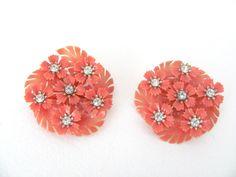 Vintage 1960's Coro Orange Flower Clip On by ThirstyOwlVintage, $26.50