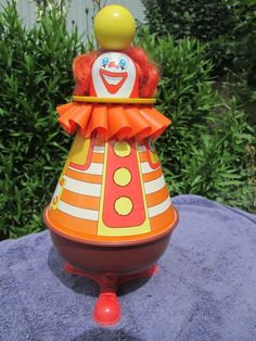 Vintage Ohio Art Clown Tin Spinning Top Toy MINT CONDITION You Won't Find Nicer #OhioArt