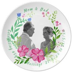 45th Wedding Anniversary PHOTO Watercolor Flowers Porcelain Plate - modern gifts cyo gift ideas personalize