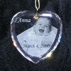 Etched heart ornament for baby's first Chrsitmas