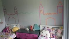 DIY washi tape castle for the Kaileigh and Zarlia's room