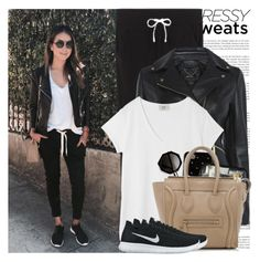 """""""Comfort is Key: Sweatpants"""" by martinabb ❤ liked on Polyvore featuring Victoria's Secret, Hush, Kate Spade, CÉLINE and NIKE"""