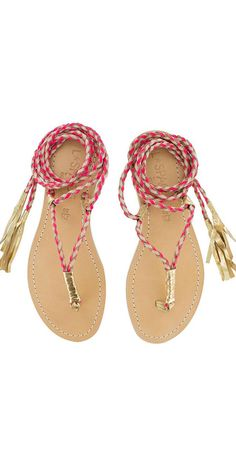 The thong-style Gili Long Wrap Sandals features 52 inch two-tone leather braided ankle-wraps with golden fringe detail and artisan stitching on the leather inso Bohemian Sandals, Boho Shoes, Leather Fashion, Boho Fashion, Wrap Shoes, Sandals Outfit, Shoes Sandals, Bohemian Style, Boho Chic