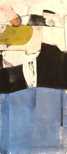 Robert Szot - Western Plans - contemporary abstract soft color and black painting on paper 1
