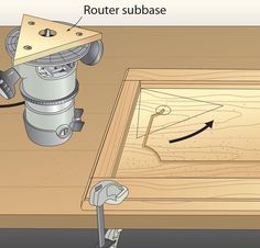 A routed groove adds interest to flat-panel doors, but finding a way to radius the corners was a mystery to me. This router subbase changes that. First, build a router subbase from 1 - My Saws And Jigs