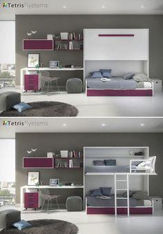 Juvenil cama alta abatible y nido 3 cajones 515-0123