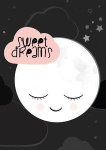 poster babykamer met maan, Sweet Dreams.