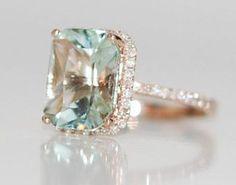 Seafoam blue green Aquamarine halo diamond ring emerald cut 14k rose gold engagement ring.